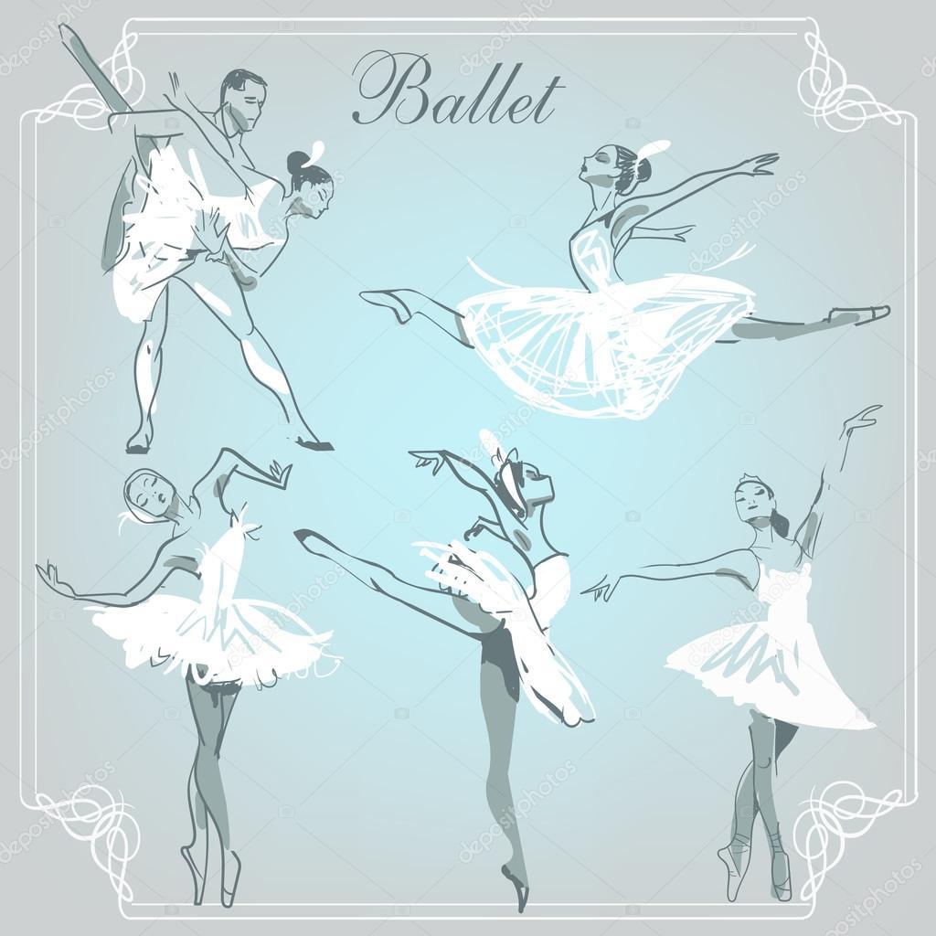 Ballerina In Ballet Poses Stock Vector C Cofeee 89109646