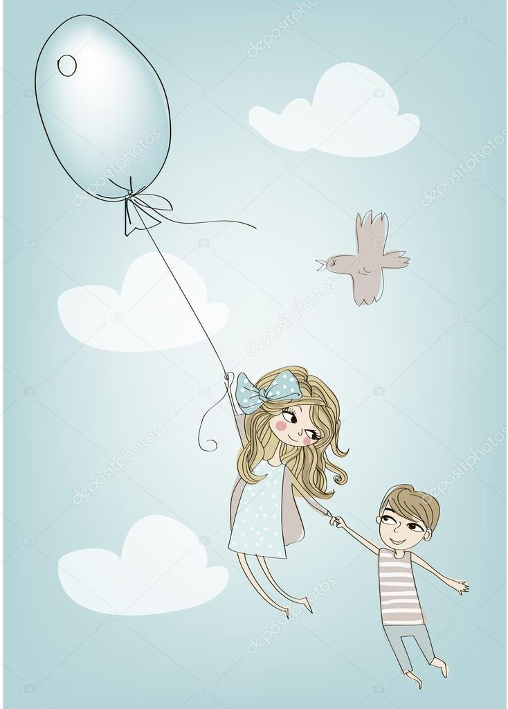 flying girl  and  boy with balloon