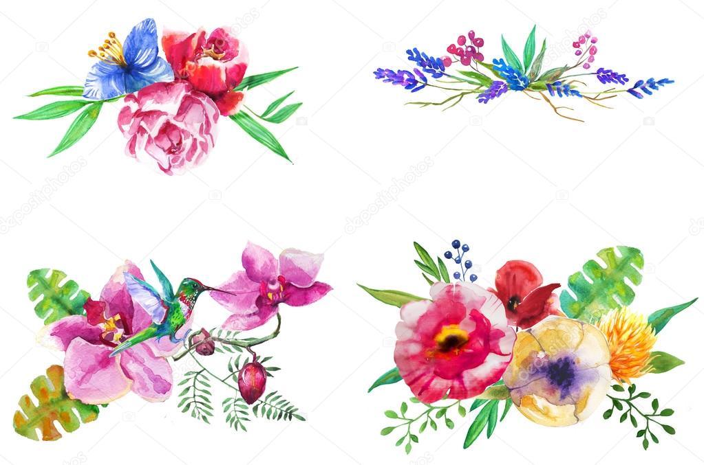 set de acuarela composiciones florales foto de stock - Composiciones Florales