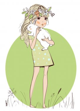Cute girl with white rabbit in her hands clip art vector