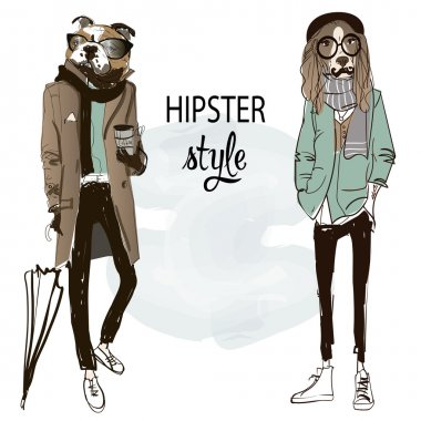 cute dog fashion characters