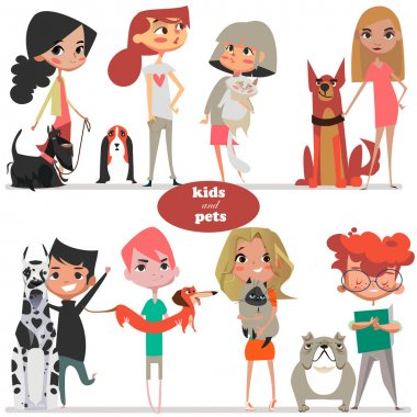 set with cute cartoon kids and pets