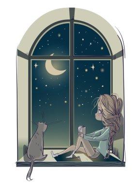 little cute cartoon girl with cat