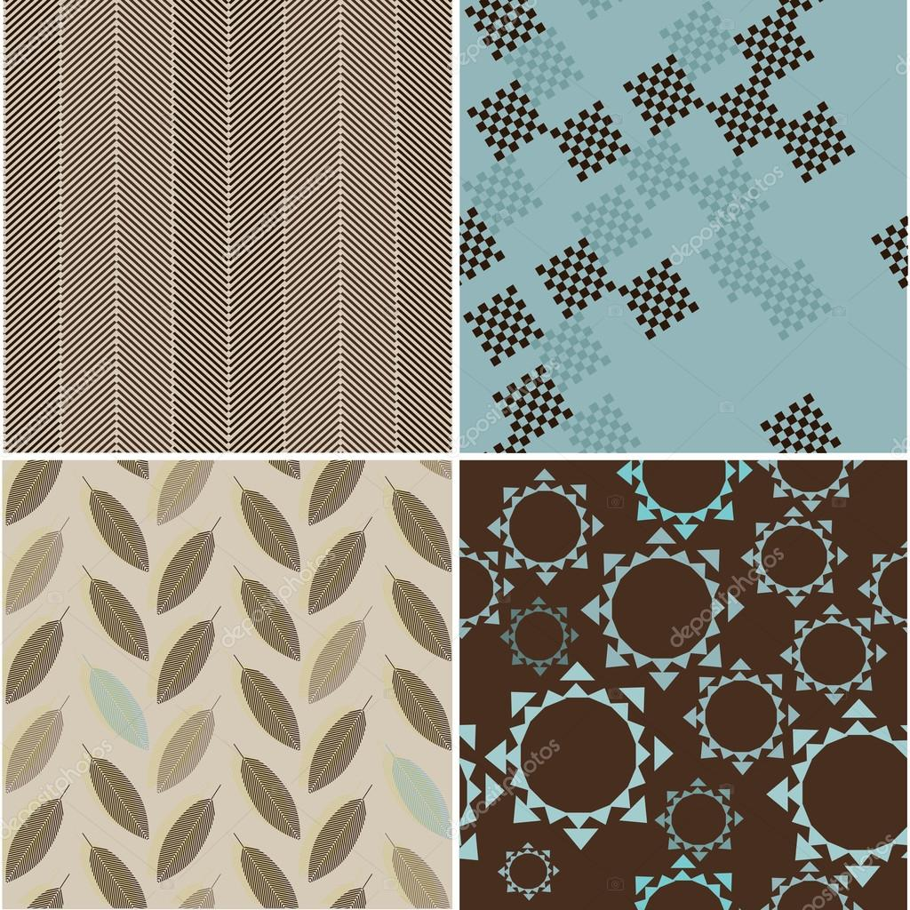 Set of seamless patterns with abstract figures