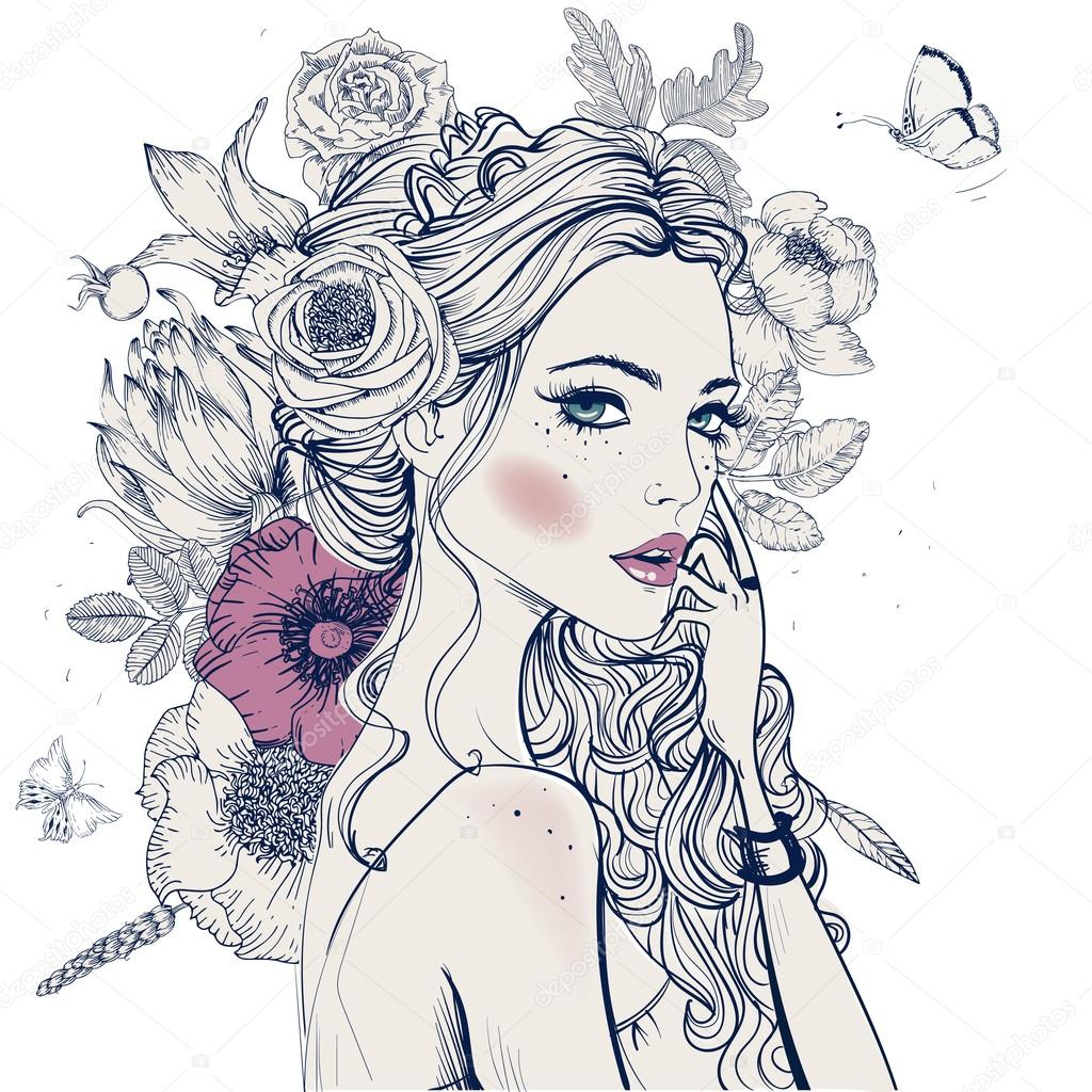 Portrait of young beautiful woman wirh flowers stock vector