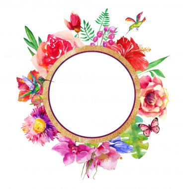 Beautiful card with a round floral wreath of watercolor plants.