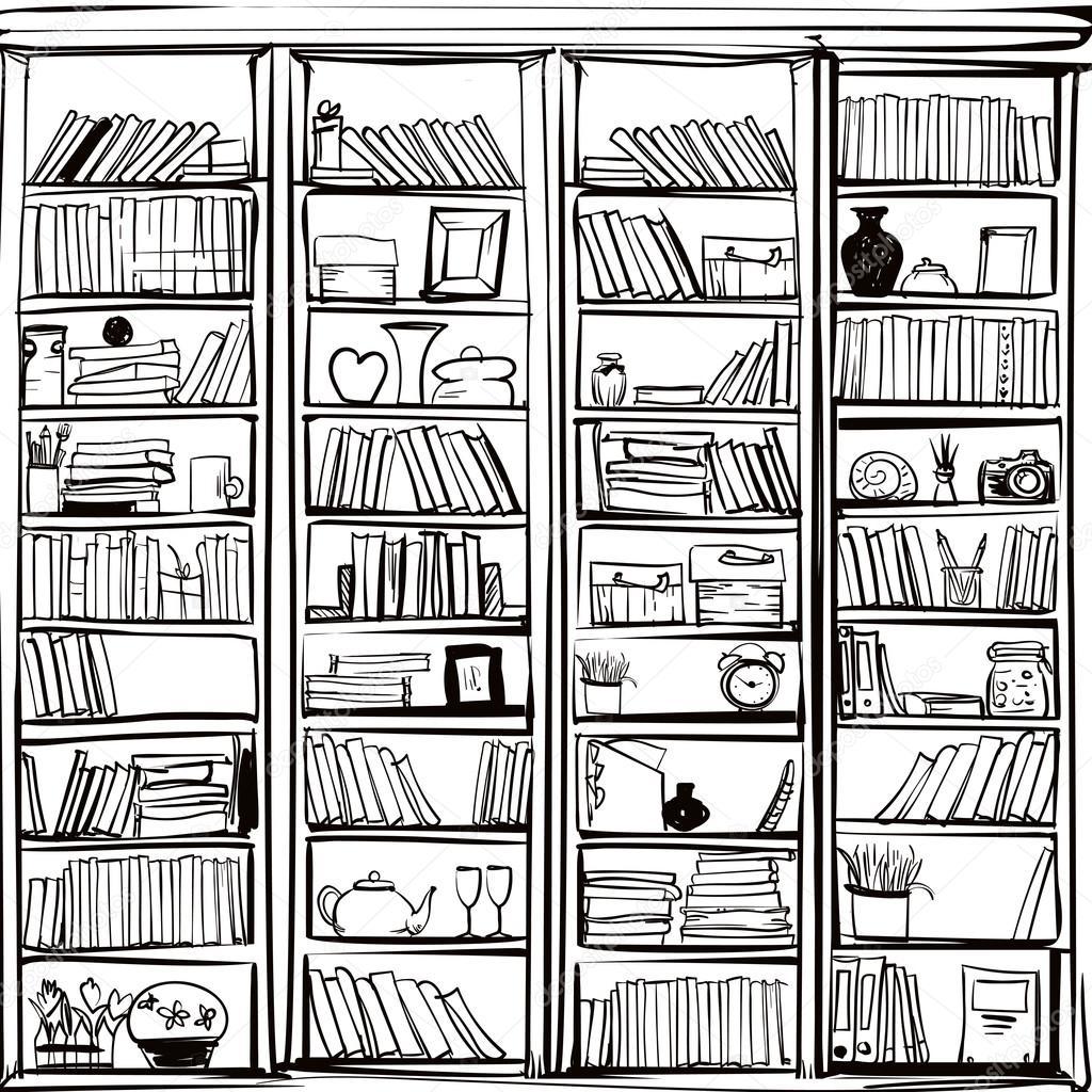 Imágenes Estante De Biblioteca Para Colorear Vector De Estante De