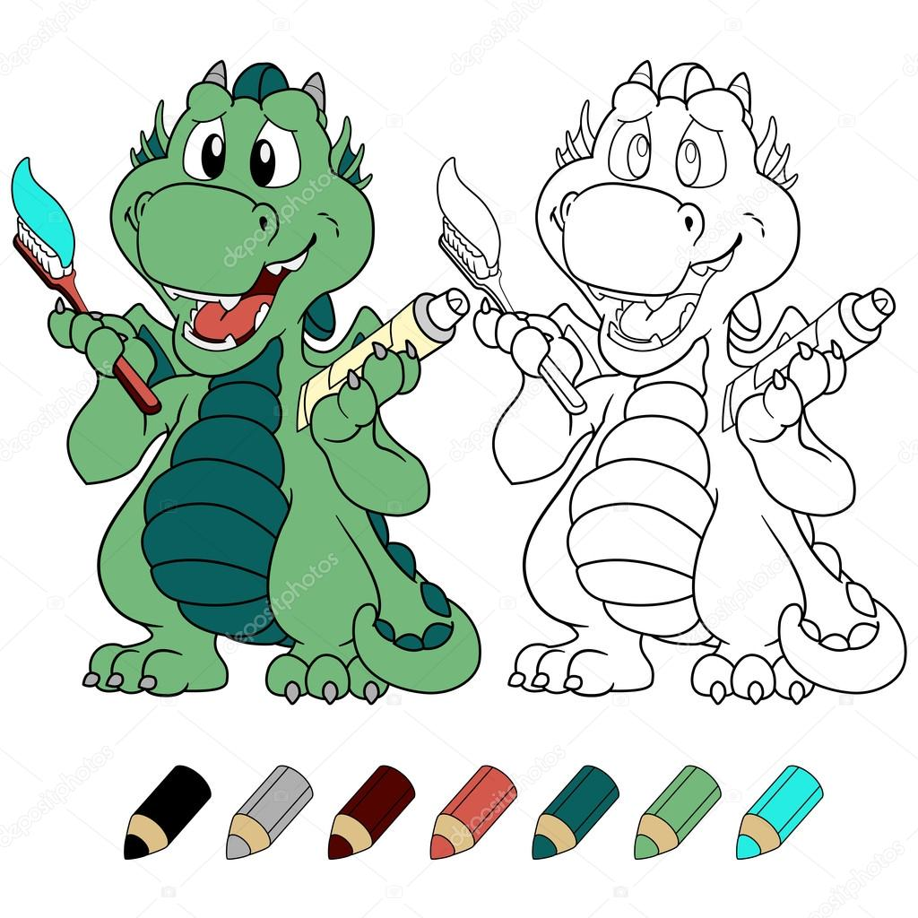 Lindo dragón con pasta de dientes para colorear versión libro ...