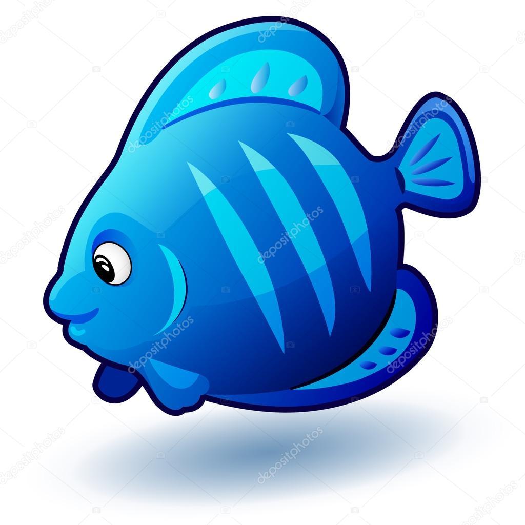 Cute Cartoon Small Fish. Vector Clip Art Illustration With