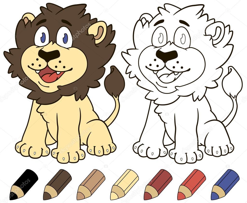 León de dibujos animados feliz. Ilustración de libros para colorear ...