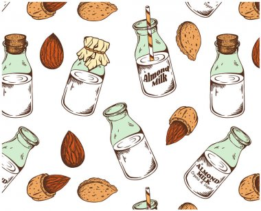 Vector illustration of sketch hand drawn pattern with colorful almond nuts and milk isolated on white background. Vintage drawing, organic, vegan, food wallpaper. Line Art, engraving texture nut seeds icon