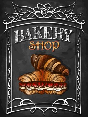 Vector illustration of sketch hand drawn poster with croissants. Vintage bakery shop background. Croissant with strawberry, custard. Flyer, banner, dessert menu, pastry shop, grocery. Chalkboard. icon