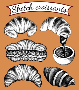 Vector illustration set of isolated sketch sweet  croissants with filling. Dessert in hand drawn vintage style, engraved. Croissant with strawberry, chocolate, cream. Bakery background, logo, menu. icon