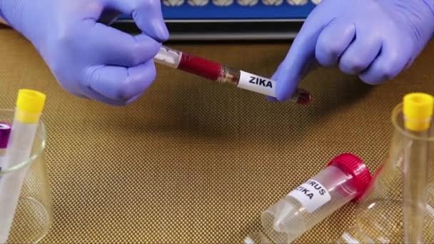 Zika virus koncept záběry s zkumavky na zlaté pozadí