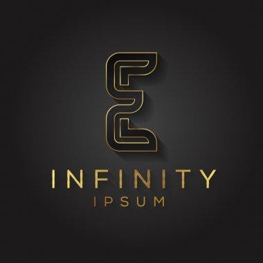 Elegant black and gold alphabet E letter logo. Vector illustration. stock vector