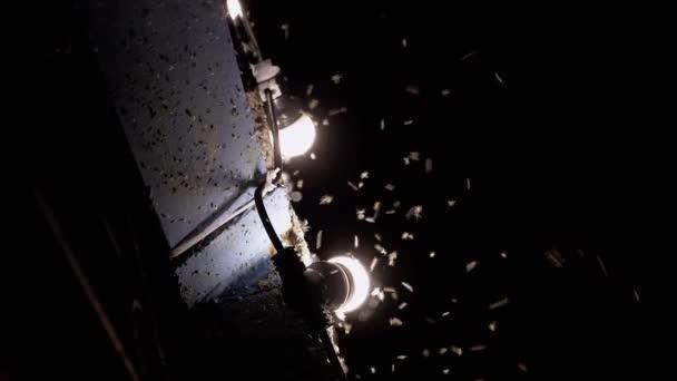 Repülő Midges, szúnyogok az utcai lámpákon éjszaka. Nagyítás
