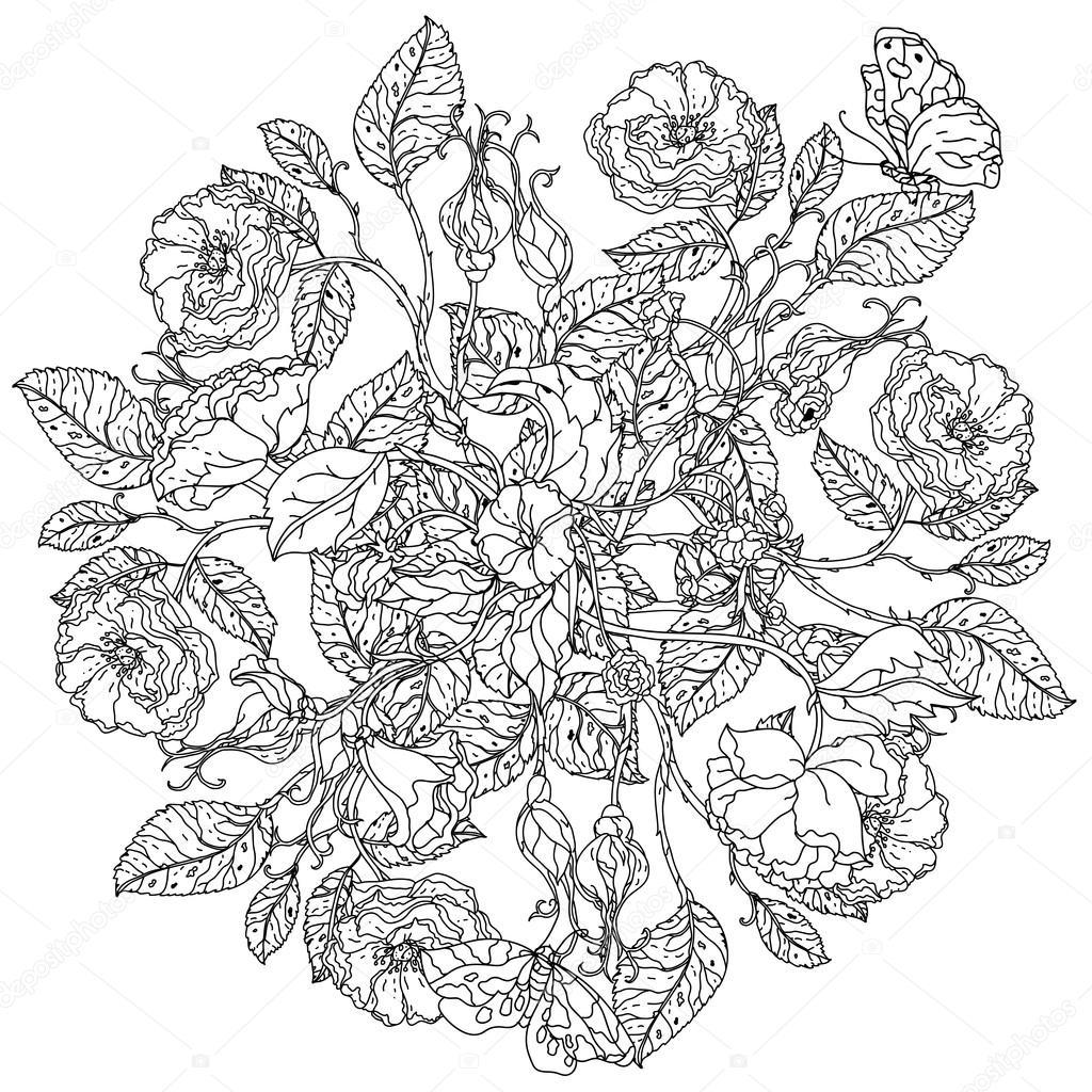 Mandala Kleurplaten Rozen.Hand Getrokken Wilde Rozen Set Stockvector C Mashabr 116510060