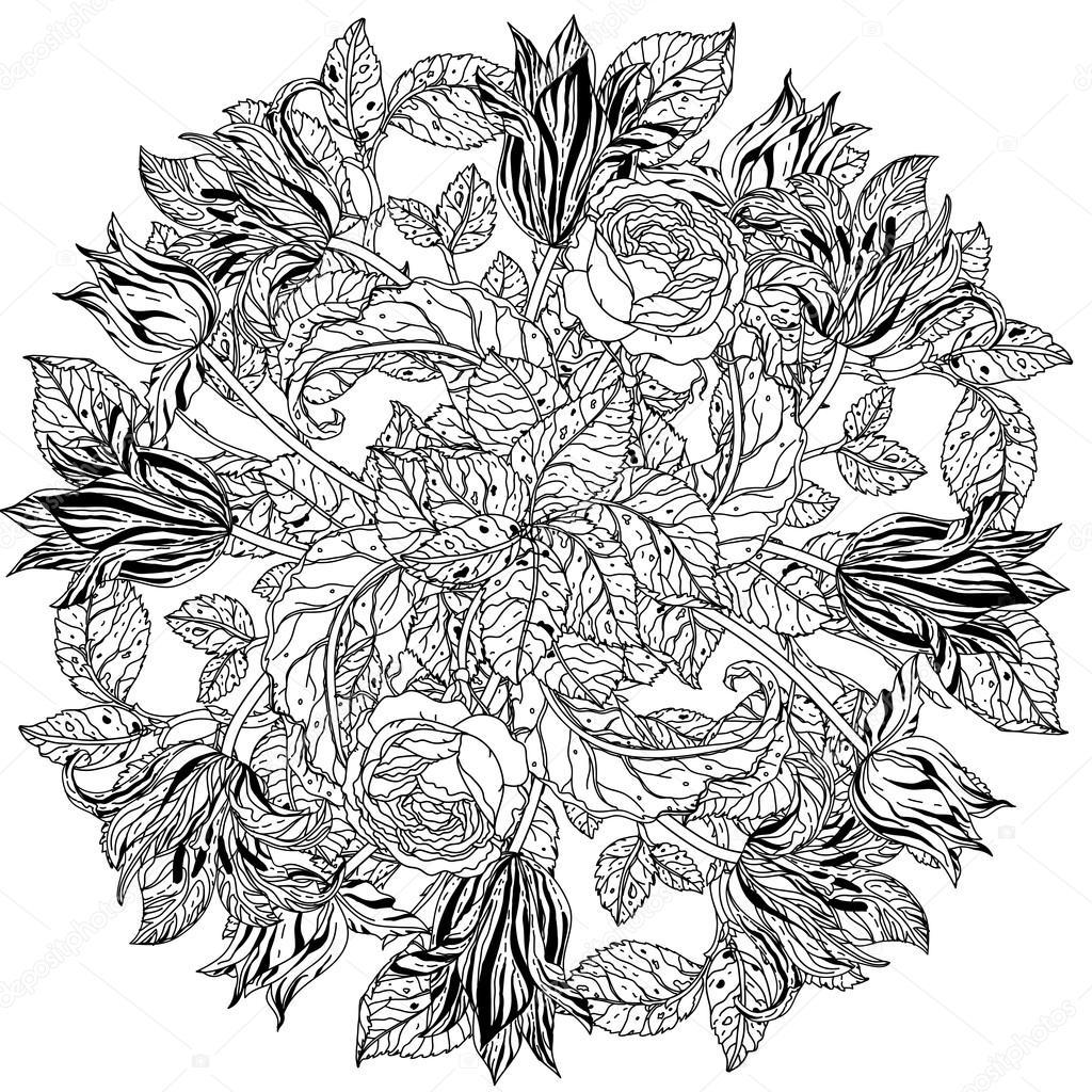 Preto E Branco Rosas De Flor Vetores De Stock Mashabr