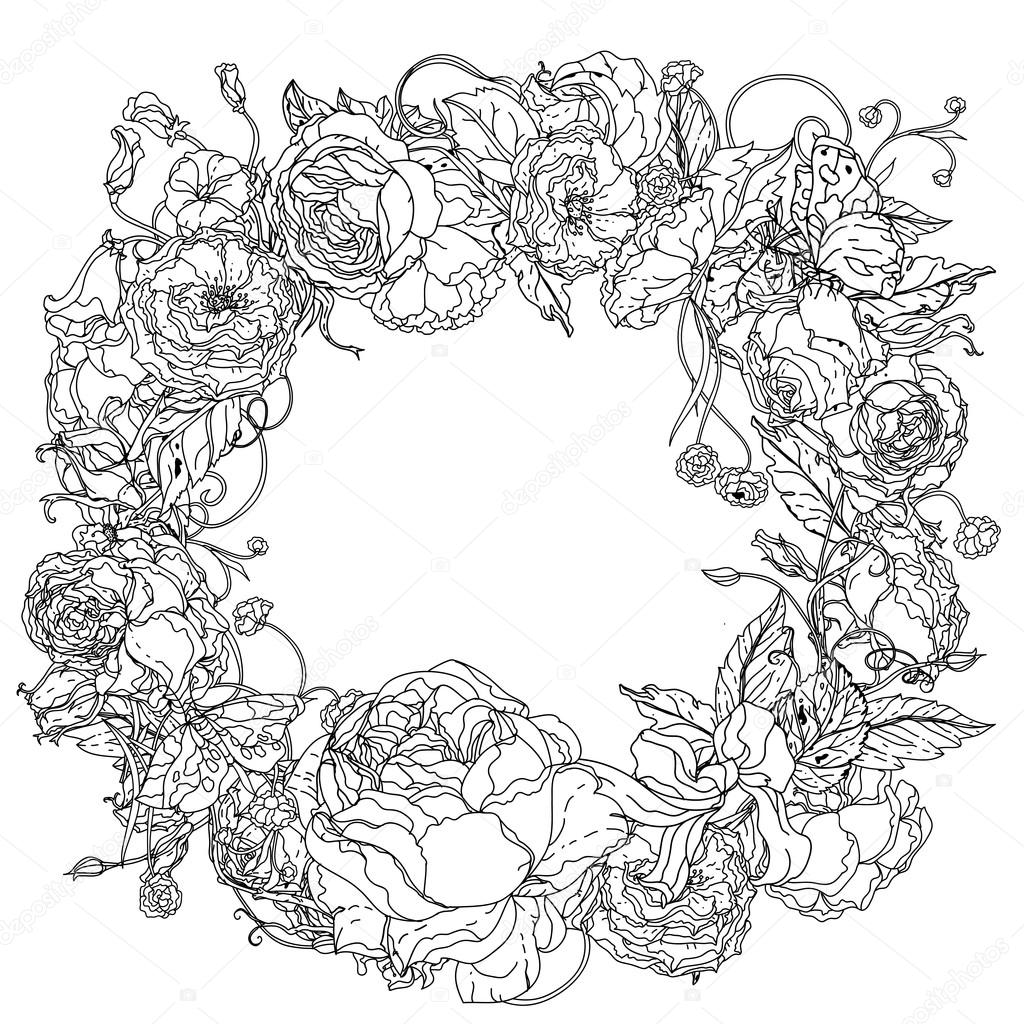 Black and white. graceful wreath