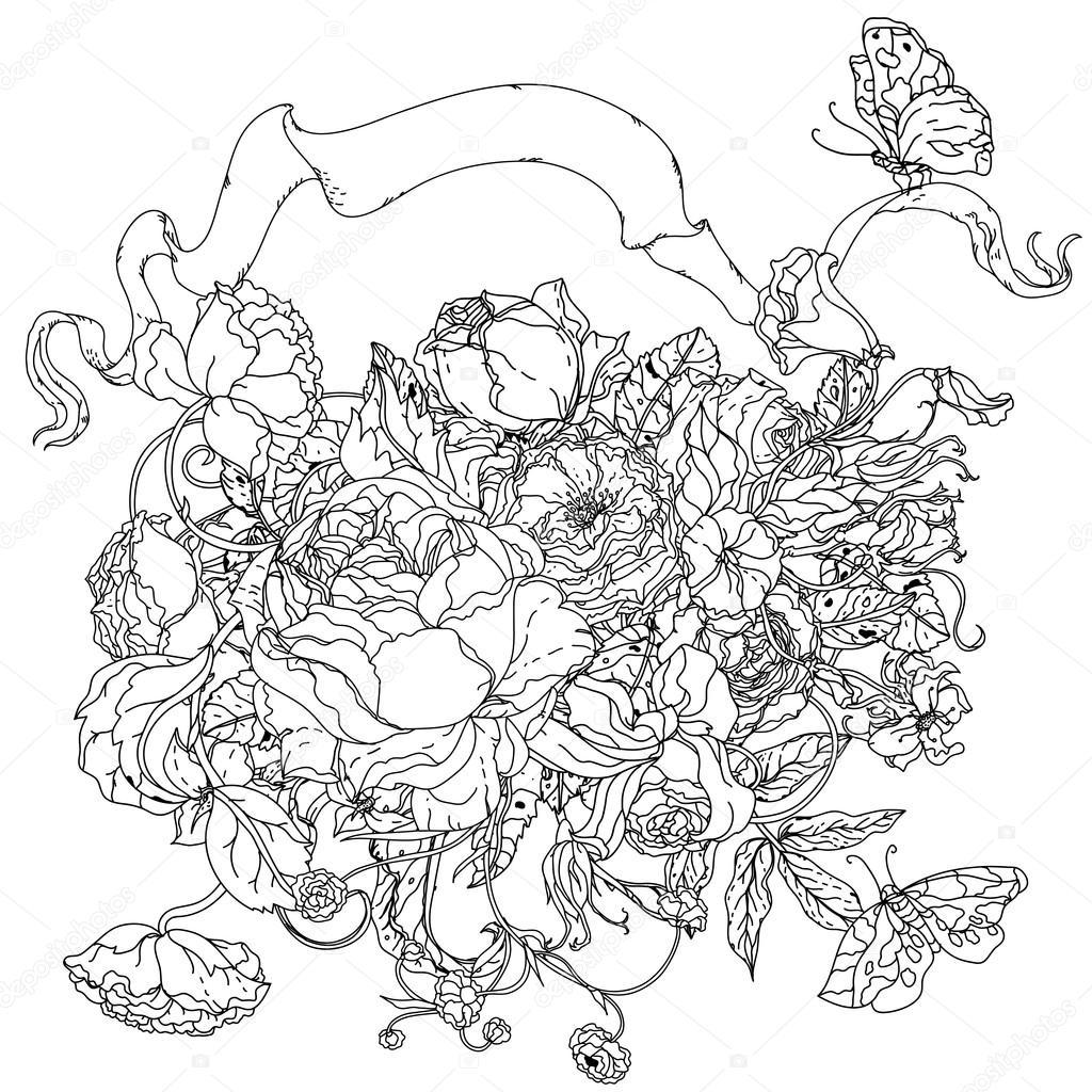 Black and white. Flower roses