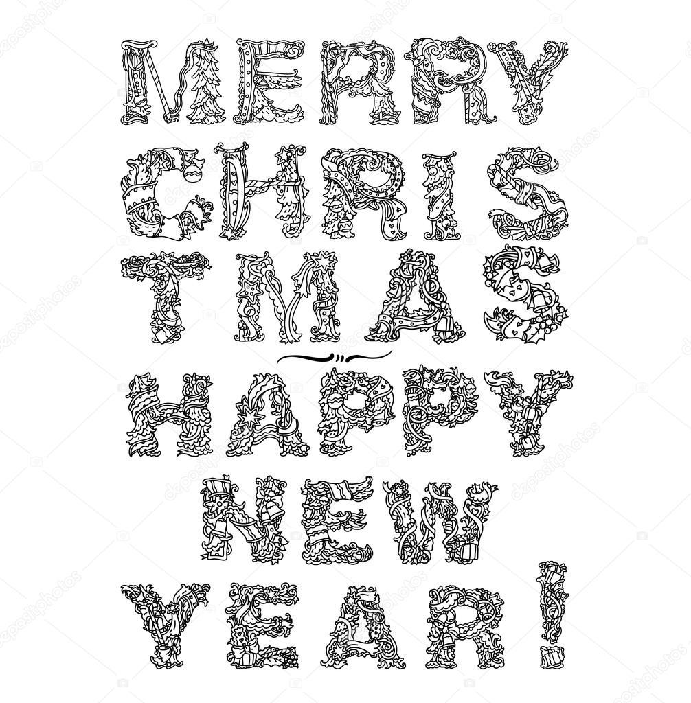 Mutlu Yeni Yıl Tebrik Kartı Tasarımı Yazı Stok Vektör Mashabr