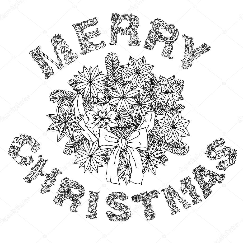 Imágenes: letras de feliz navidad para colorear   Feliz Navidad