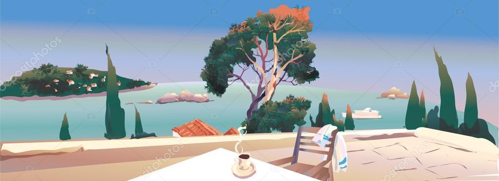 on the terrace near the sea