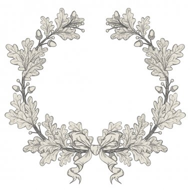 Silver Oak Wreath , isolated on white, vector stock vector