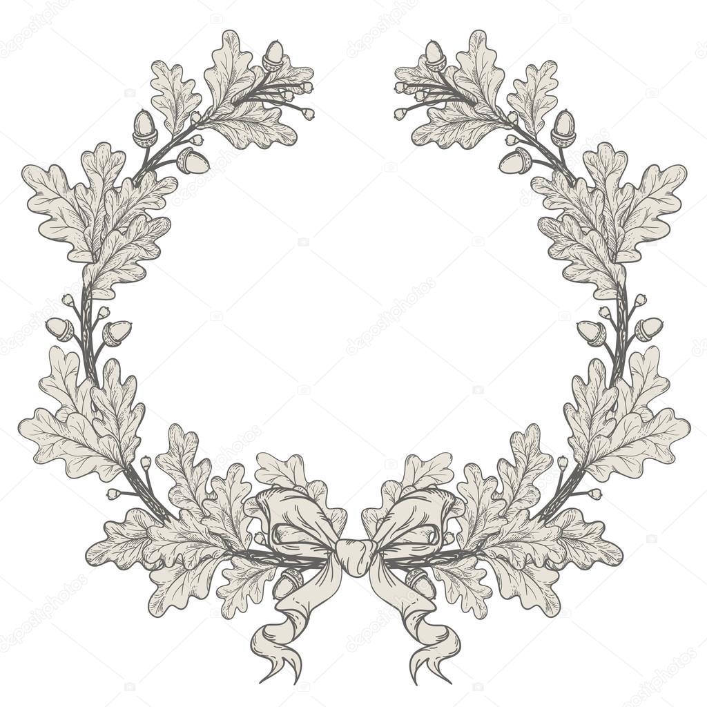 Silver Oak Wreath , isolated on white, vector stock vector