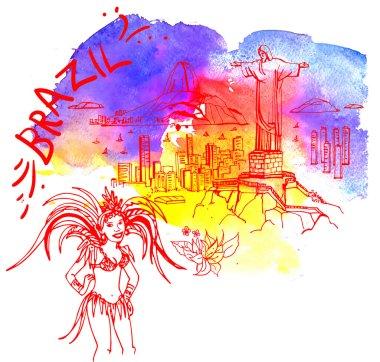 View of the city, Rio de Janeiro in watercolor style, includes a phrase Brazil clip art vector