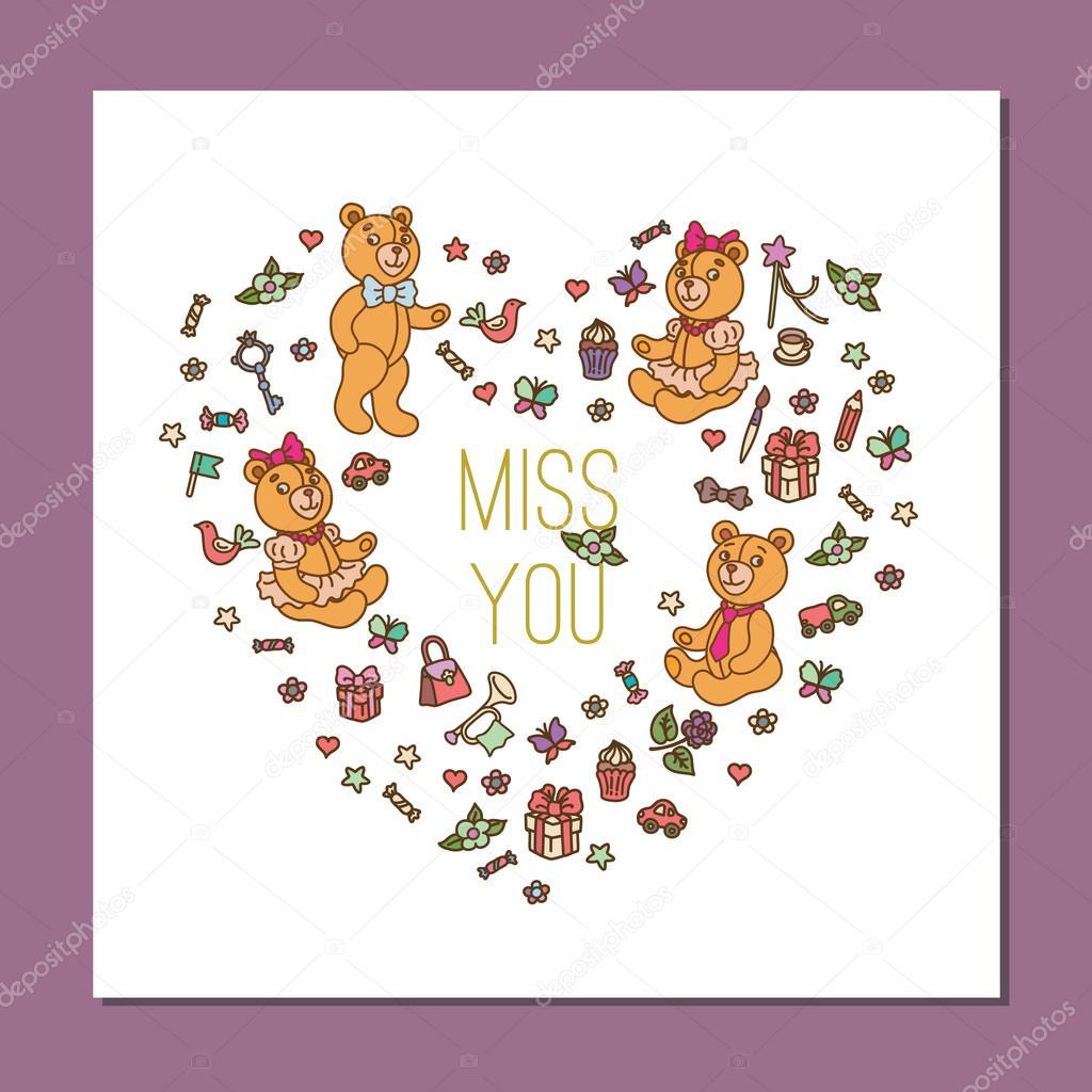 template with cute teddy bear stock vector mashabr 75696535