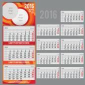 Vektorové kalendář 2016 - plánovač pro tři měsíce