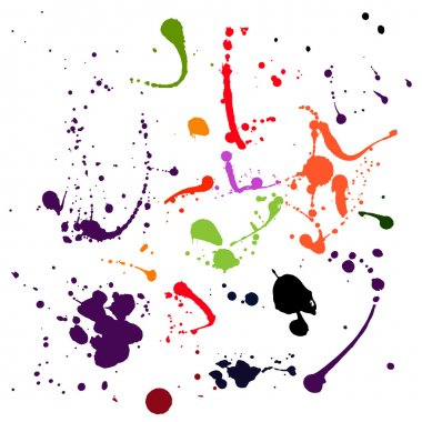 Set of difrent colours blots and ink splashes Each blot is grouped separately, there are 17 different splashes clip art vector