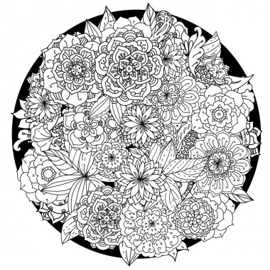 Circle floral ornament. Hand drawn art mandala. Made by trace from sketch. Ink pen. Black and white background. Zentangle patters.