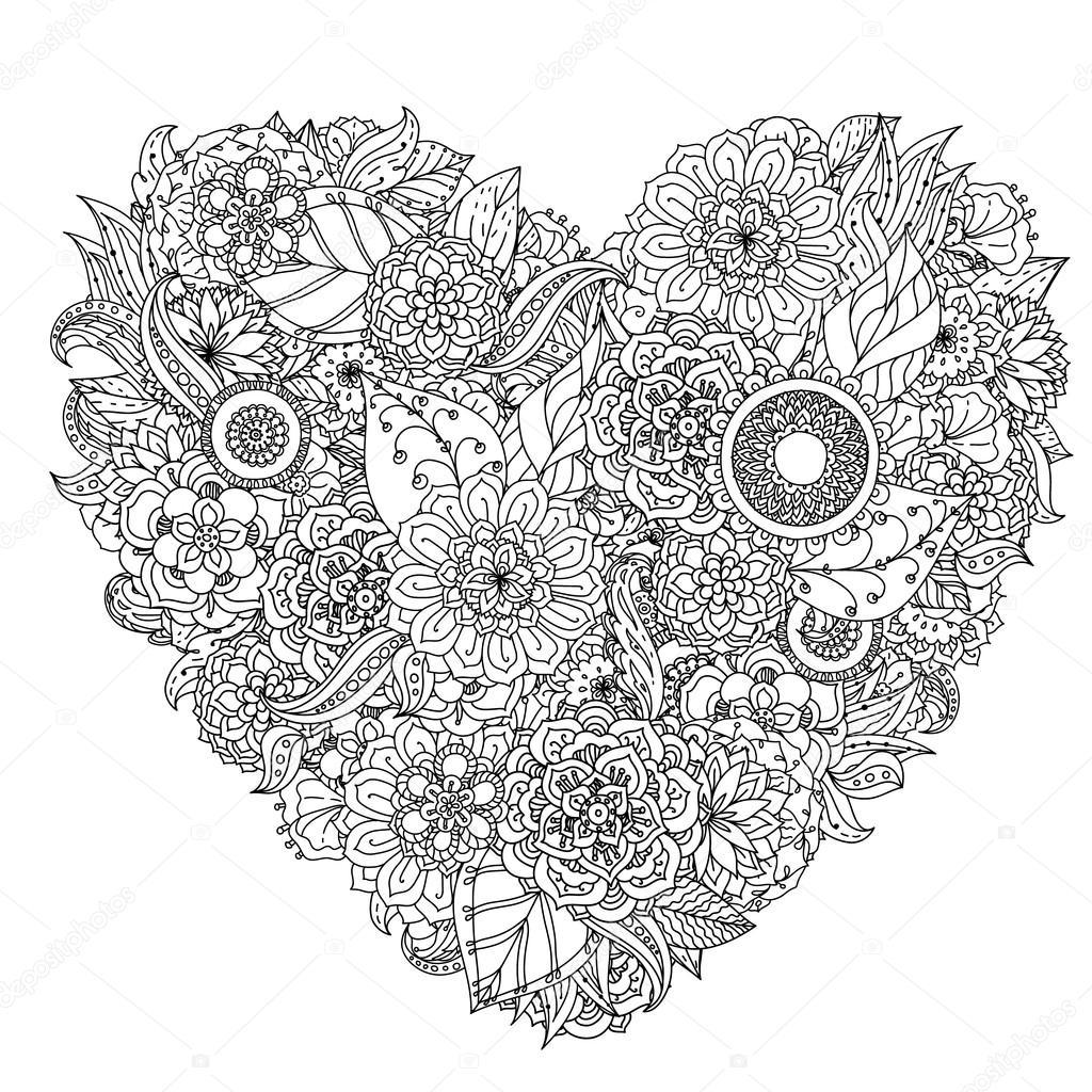 L ment de zentangle dessin main noir et blanc mandala - Dessin de fleur en noir et blanc ...