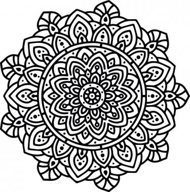 Luxury ornamental mandala Pattern Design in Black and White color Vector Illustration Design icon