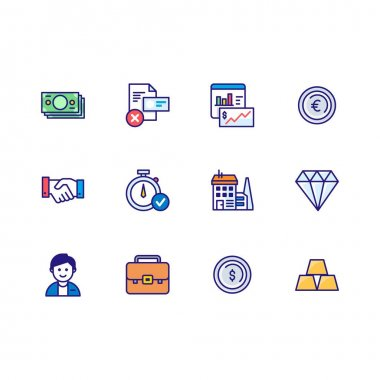 Isolated vector Business & Finance icon pack illustration with flat line color style Vector icon