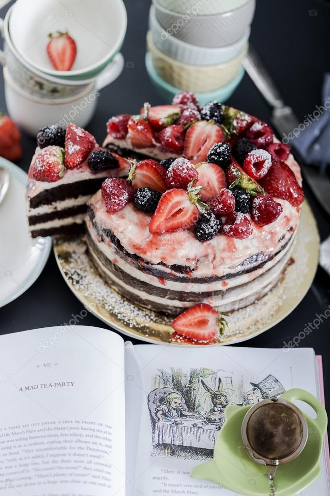 Rustic Chocolate Cake With Berries Stock Photo