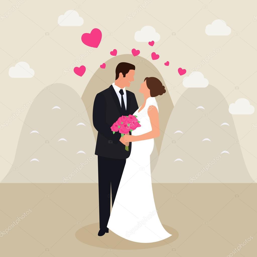 男女の結婚のカップルを参照してください目手フラット ベクトル デッサン