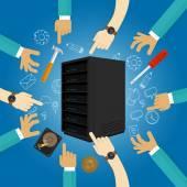 Fotografia manutenzione server preventiva di risoluzione dei problemi hardware di fissaggio piallato backup dei dati