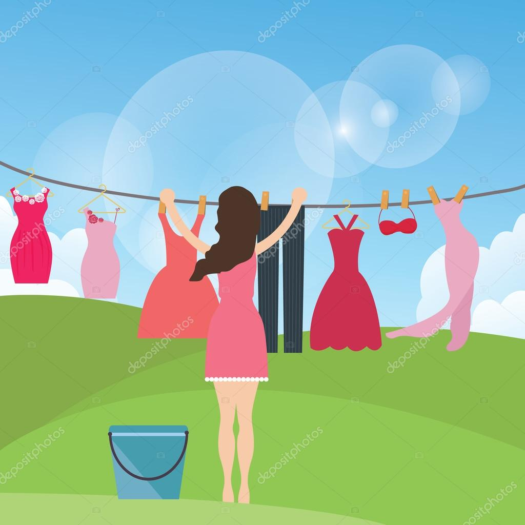 woman female mom drying clothes hanging in rope under the sun outdoor