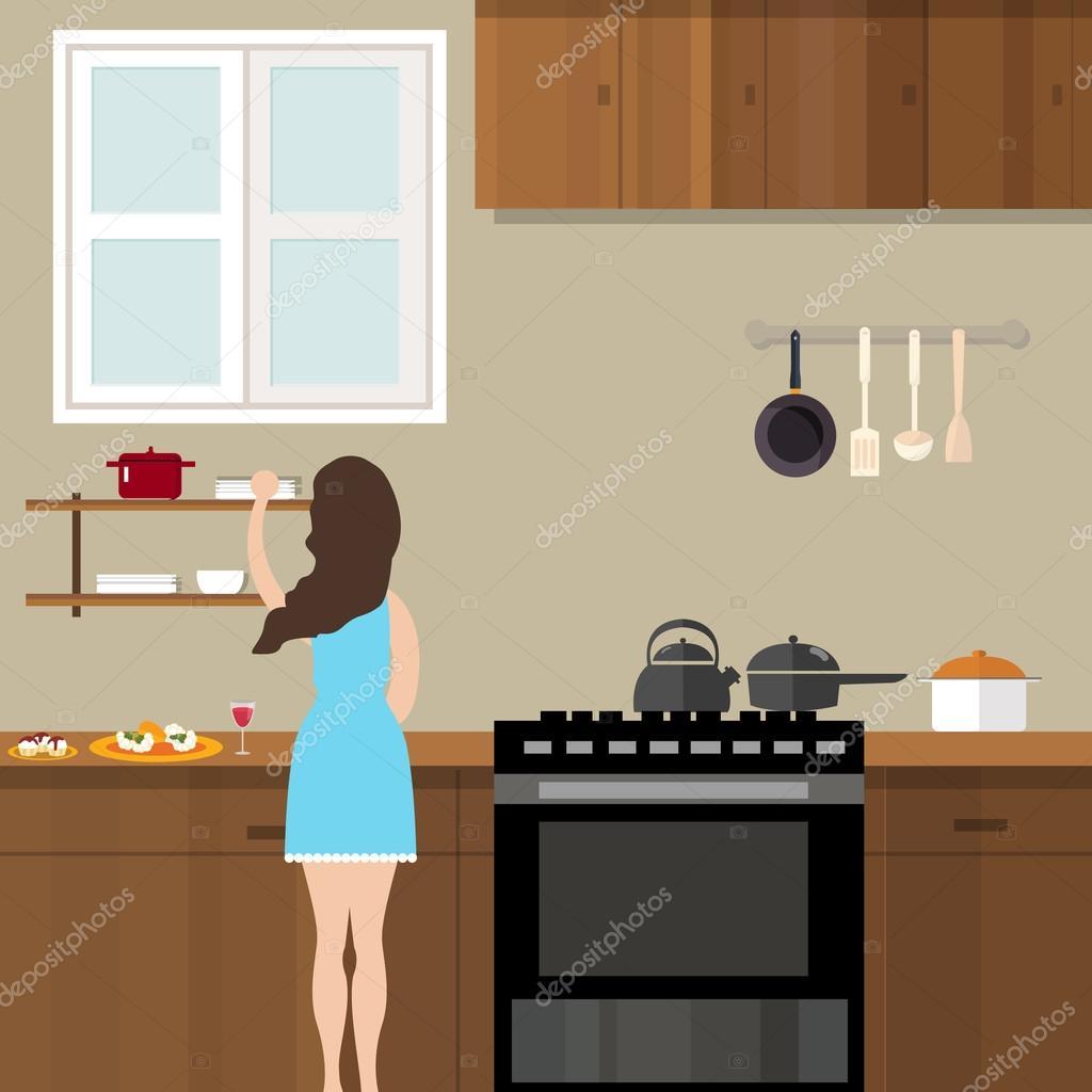 Mujer mam cocina en cocina preparaci n para la for Programas de dibujo de cocinas gratis