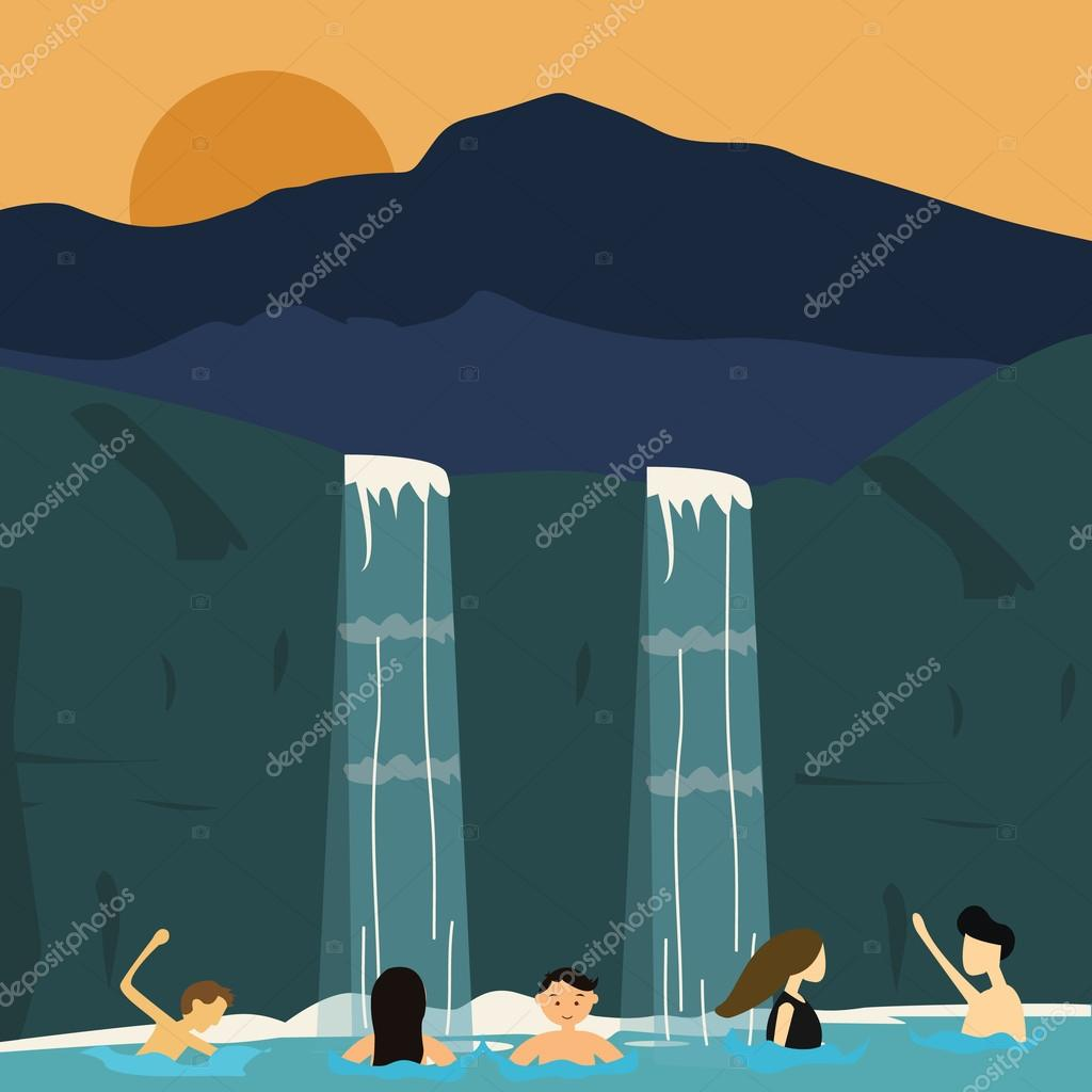 peoples swim in waterfall boys and girls illustration