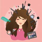 Frau Mädchen weibliches Lächeln mit Make-up rund um Glamour-Lippenstift Lidschatten erröten auf Puderpinsel