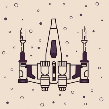 space craft fighter jet futuristic icon drawing illustration