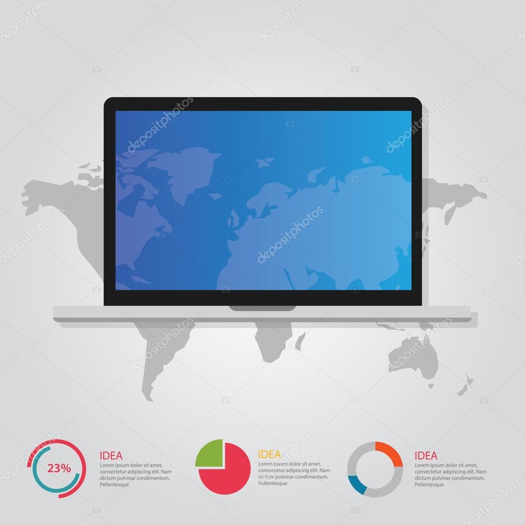 mundo y portátil mapa información comunicación gráfica online ...