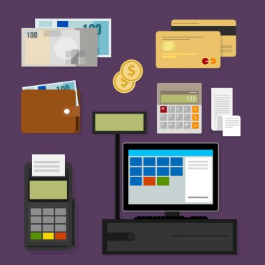 payment point of sales pos register icon cash