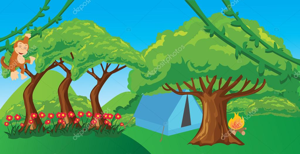 monkey in jungle cartoon forest illustration ape hanging tree