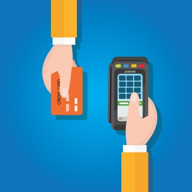 pay merchant hands credit card flat vector illustration payment edc electronic data capture transaction