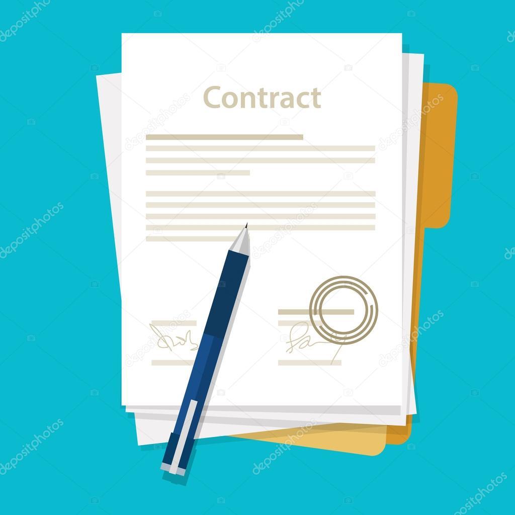 Unterzeichnete Papier Viel Vertrag Symbol Vereinbarung Stift Auf Den